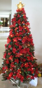 Hawaiian Themed Christmas Tree - Decorated in poinsetta